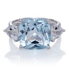 Genuine Sky Blue Topaz And White Topaz Sterling Silver Ring