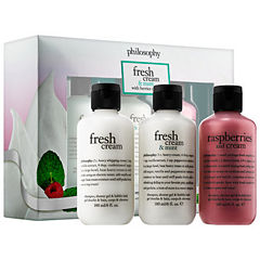 philosophy Fresh Cream & Mint With Berries On Top Shampoo, Shower Gel & Bubble Bath Trio