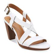 Clarks® Jaelyn Fog Leather Sandals - Wide Width