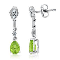 Green Peridot Sterling Silver Drop Earrings