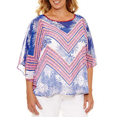 Lark Lane Viva Antigua Short Sleeve Scoop Neck Chiffon Blouse-Plus