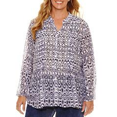 Lark Lane Summer Spirit 3/4 Sleeve Button-Front Shirt-Plus
