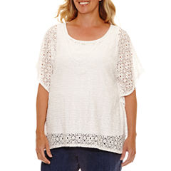 Lark Lane Braziliant Short Sleeve Scoop Neck T-Shirt-Womens Plus