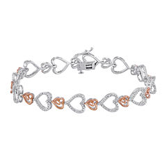 ForeverMine® 1/10 CT. T.W. Diamond Heart Two-Tone Bracelet