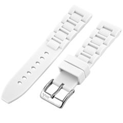 JBW Womens  White And Silver Tone Silicone Watch Band