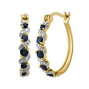 Classic Treasures™ Diamond-Accent & Genuine Sapphire Brass 25mm Hoop Earrings