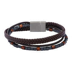Inox® Jewelry Mens Hematite Bead & Brown Leather Stainless Steel Bracelet