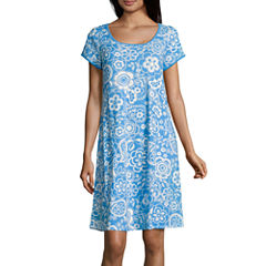 By Miss Elaine Short Sleeve Round Neck Floral Nightgown