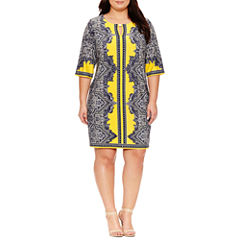 Studio 1 Elbow Sleeve Paisley Sheath Dress-Plus
