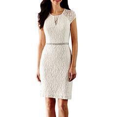 Scarlett Short Sleeve Beaded Sheath Dress