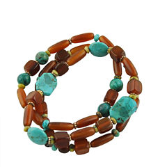 Artsmith By Barse Womens Blue Turquoise Stretch Bracelet