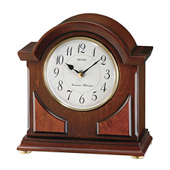 Seiko® Mantel Clock With Duel Chimes Brown Qxj012blh