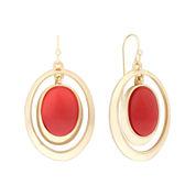 Liz Claiborne® Orange Acrylic Stone Gold-Tone Drop Earrings