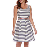 Tiana B. Sleeveless Striped Fit and Flare Dress - Petite