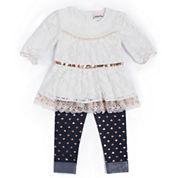Little Lass® 2-pc. Heart Leggings Set -Baby Girls 3m-24m