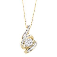 diamond blossom 1/4 CT. T.W. Diamond 10K Yellow Gold Pendant