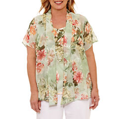 Alfred Dunner Botanical Garden Short Sleeve Layered Top Plus
