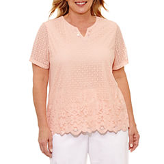 Alfred Dunner Botanical Garden Short Sleeve Split Crew Neck T-Shirt-Womens Plus