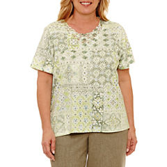 Alfred Dunner Botanical Garden Short Sleeve Crew Neck T-Shirt-Womens Plus