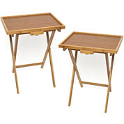 Bamboo Snack Set of 2 TV Tray Tables with Lip