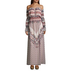 As U Wish Long Sleeve Maxi Dress-Juniors