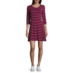 Arizona 3/4 Sleeve Swing Dresses-Juniors