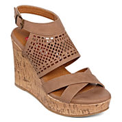 Pop Diva Laser-Cut Wedge Sandals