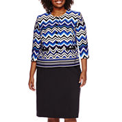 Isabella Chevron Skirt Suit Set - Plus