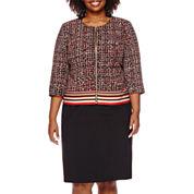 Isabella Long-Sleeve Printed Zip-Front Skirt Suit Set - Plus