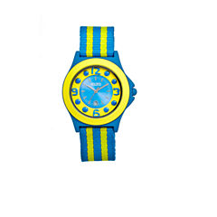 Crayo Womens Carnival Blue & Yellow Nylon-Strap Watch With Date Cracr0703
