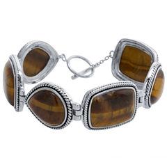 Womens Brown Tiger's Eye Sterling Silver Link Bracelet