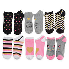 Total Girl Girls 6 Pair No Show Socks-Big Kid