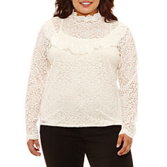 Arizona Long Sleeve Lace Top- Juniors Plus