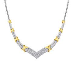 1/2 CT. T.W. Diamond Two-Tone X Necklace
