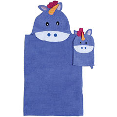Unicorn Hooded Towel and Wash Mitt Set