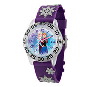 Disney Girls Frozen Elsa And Anna Purple And Silver Tone Snowflake Time Teacher Strap Watches