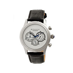 Heritor Automatic Earnhardt Mens Leather Day&Date-Silver Watches