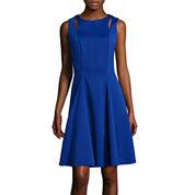 Danny & Nicole® Sleeveless Cutout Knit Jacquard Fit-and-Flare Dress