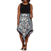 Donna Ricco Sleeveless Colorblock Aztec Hi-Lo Dress - Plus