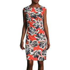 Black Label by Evan-Picone Cap-Sleeve Side-Ruched Floral Sheath Dress