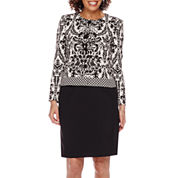 Isabella Long-Sleeve Jacquard Jacket and Solid Skirt Suit Set - Petite