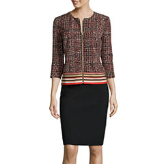 R&K Originals® 3/4-Sleeve Border Print Zipper Close Jacket and Skirt Suit