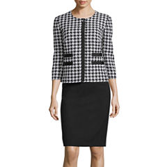 R&K Originals® 3/4-Sleeve Houndstooth Print Jacket & Skirt Suit Set