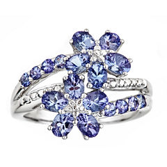 LIMITED QUANTITIES Genuine Tanzanite Sterling Silver Flower Ring