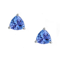 LIMITED QUANTITIES! 5/8 CT. T.W. Round Blue Tanzanite Sterling Silver Stud Earrings