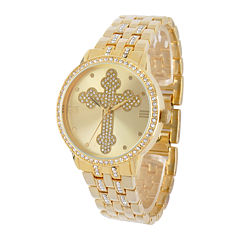Personalized Crystal-Accent Gold-Tone Cross Watch