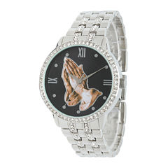 Personalized Crystal-Accent Silver-Tone Praying Hands Watch