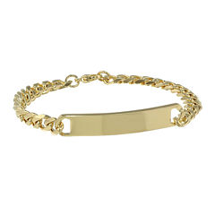 Mens 8mm Stainless Steel & Gold-Tone IP Curb ID Bracelet