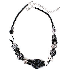 Aris by Treska Acrylic Stone Sterling Silver Collar Necklace