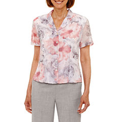 Alfred Dunner Rose Hill Short Sleeve Button-Front Shirt-Petites